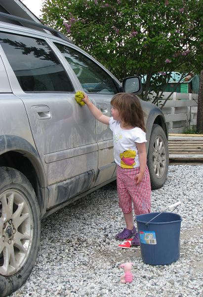 Jade washing the car