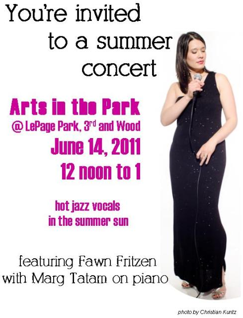 Arts in the Park, June 14, 2001, LePage Park, noon to 1. Featuring Fawn Fritzen with Marg Tatam on piano.  Hot vocal jazz in the summer sun.