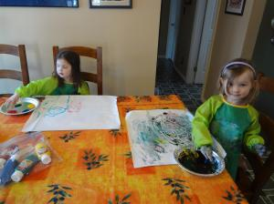 Jade & Halia Fingerpainting