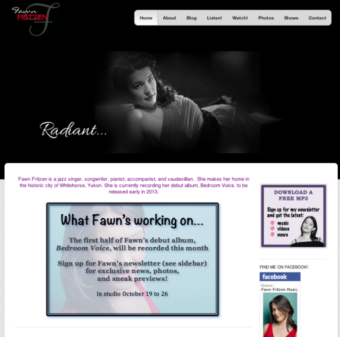Fawn Fritzen Music Website Screen Shot