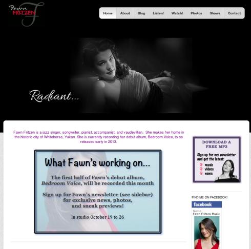Fawn Fritzen Music Website Screen Shot